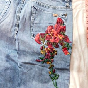 Candie's Floral Jeans Wide Leg Size 11